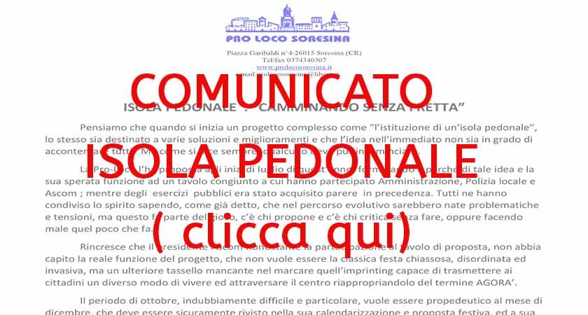 Comunicato Isola Pedonale